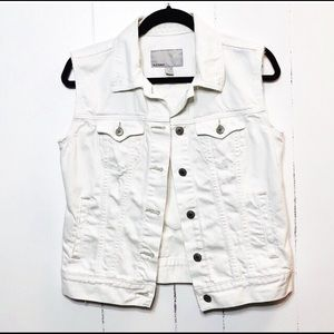 White Distressed Jean Vest